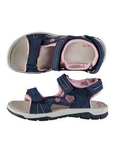 Girls' smart sandals in two fabrics FFSANDION / 19SK35K2D0E070