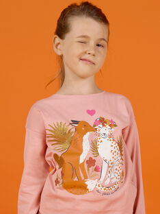 Pink long-sleeved T-shirt with fox and leopard print, baby girl MASAUTEE3 / 21W901P3TML303