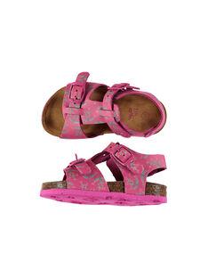 Baby girls' smart leather sandals FBFNUPRINT / 19SK37D4D0E304