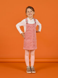 Girl's old pink corduroy dress-salopette MASAUROB2 / 21W901P3ROB303