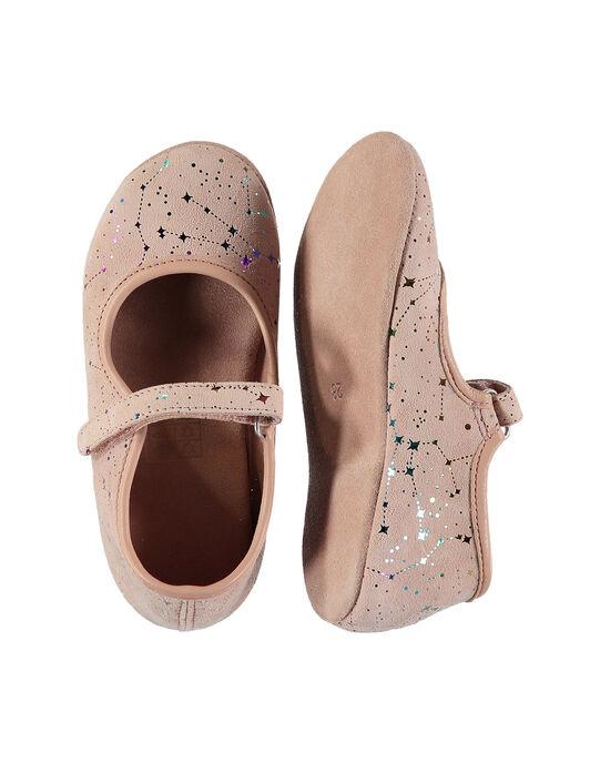 Girls' leather ballet pump slippers FFBELFILLE / 19SK3538D07030