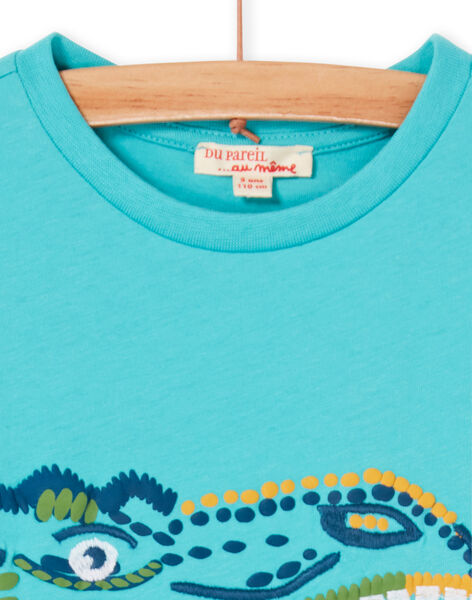 Turquoise T-shirt for boys LOVERTI1 / 21S902Q1TMCC215