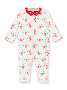 Girl's sleep suit romper with floral printed velvet LEFIGREBOU / 21SH1312GRE001