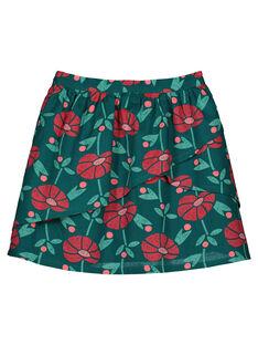 Girls' flowery asymmetric skirt GAVEJUPE / 19W90121JUPG627