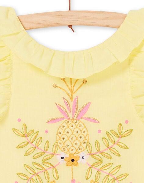 Yellow dress with giraffe and foliage embroidery LAJAUROB4 / 21S901O3ROB116