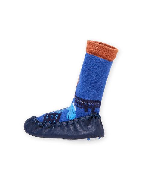 Blue high slippers baby boy animal print MUCHO7ANIM / 21XK3821D08C201