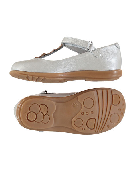 Girls' smart pearlised leather T-bar shoes FFSALCOEUR / 19SK3541D13000