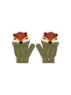 Khaki green mittens with fox pattern child boy MYOGROGAN5 / 21WI0265GAN628