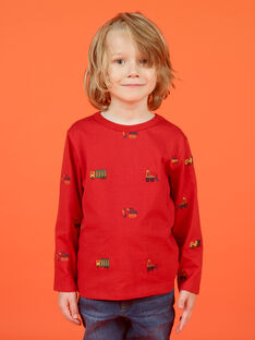 Boy's red long sleeve t-shirt with car, tractor and helicopter print MOCOTEE2 / 21W902L4TMLF521