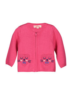 Baby girls' zipped knit cardigan FICOCAR2 / 19SG0982CAR030