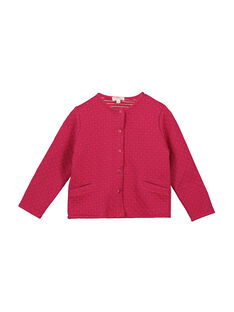 Girls' pink padded cardigan FAJOCAR2 / 19S901Y2D3C304