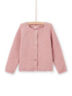 Girl's old pink chenille cardigan MAYJOCAR2 / 21W9011ACAR303