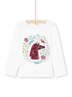 Girl's long-sleeved T-shirt with reversible sequin unicorn motif MATUTEE2 / 21W901K4TML001