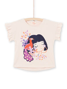Girl's short-sleeved t-shirt in light pink with peacock motifs MAPATI2 / 21W901H2TMCD319
