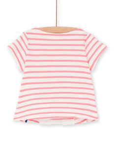 Pink and white striped baby girl T-shirt LIHATEEX / 21SG09X1TMC001