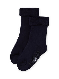 Baby girl's navy blue boucle socks MYIESSOQB3 / 21WI09EBSOQ070