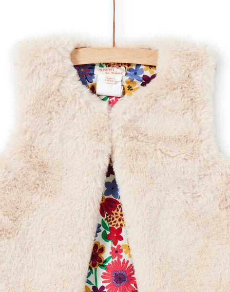Reversible faux fur vest ecru child girl MAMIXCAR3 / 21W901J3CAR009