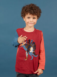 Boy's red and navy T-shirt MOPATEE3 / 21W902H1TML719