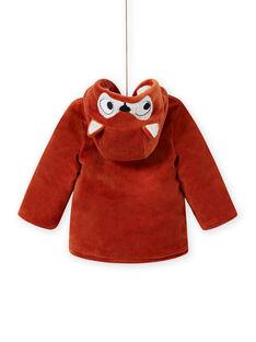 Boy's corduroy hooded parka with fox pattern MUGROPAR / 21WG1051PAR408