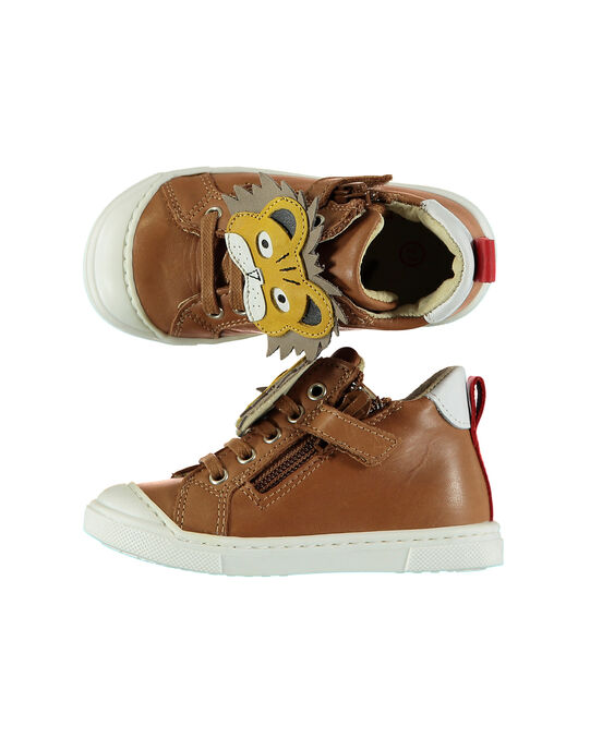 Baby boys' smart leather trainers. FBGBASLEO / 19SK3842D3F804