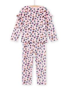 Child girl's pink velvet panther print pajama set MEFAPYJBOX / 21WH1197PYJ309