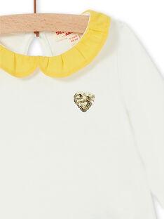 T-shirt ecru and yellow cotton baby girl LIJOBRA1 / 21SG0932BRA001