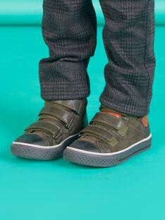 Child boy khaki green suede high top sneakers MOBASTRIVKAKI / 21XK3673D3F604