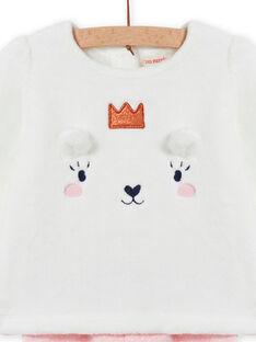 Baby girl pyjama set in soft boa with teddy bear design MEFIPYJOUR / 21WH1391PYJ001