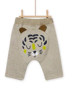 Khaki green pants with animal print, baby boy MUKAPAN1 / 21WG10I2PAN604
