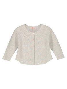 Baby girls' mixed knit cardigan GIBLECAR / 19WG0991CAR001