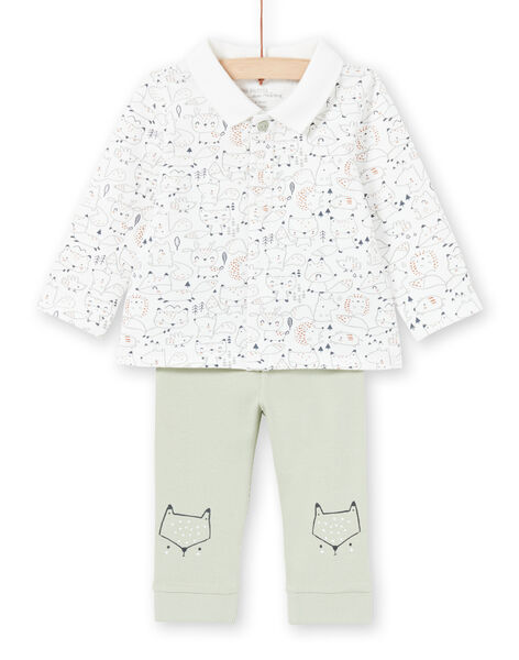 White and khaki shirt and pants set for a boy MOU1ENS4 / 21WF0441ENS001