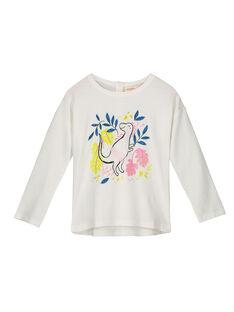 Girls' ecru printed T-shirt GABLETEE / 19W90191TML001