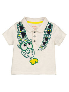 Baby boys' ecru printed polo shirt GUVEPOL / 19WG1021POL006