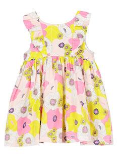 Baby girls' cotton satin dress FIPOROB2 / 19SG09C2ROB099