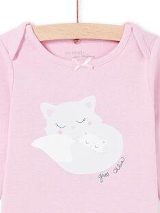 Baby girl long sleeve bodysuit with cat print MEFIBODMAM / 21WH13B5BDLH702