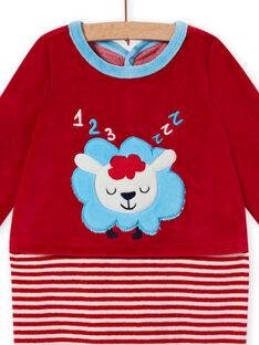 Red velvet romper with sheep pattern baby boy MEGAGREMOU / 21WH1493GREF526