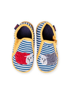 Baby boy grey striped slippers with sheep pattern MUPANTSHEEP / 21XK3832D0A943