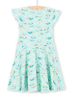 Girl's green dress with flower print LAVEROB2 / 21S901Q4ROBG621