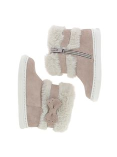 Baby girls' leather boots DBFBOTCHIC / 18WK37T1D10030