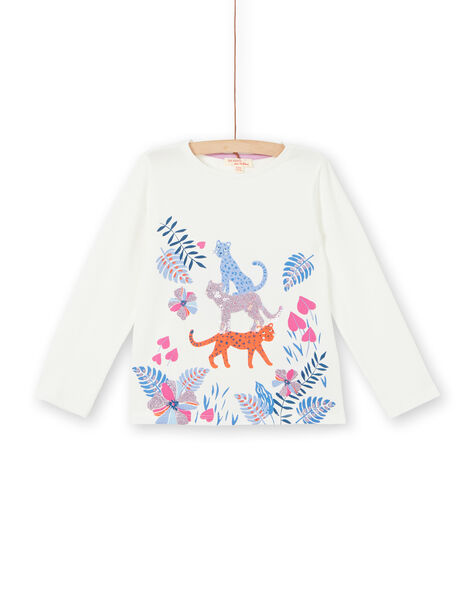 White T-shirt with vegetal and leopard print LABLETEE2 / 21S901J1TML001