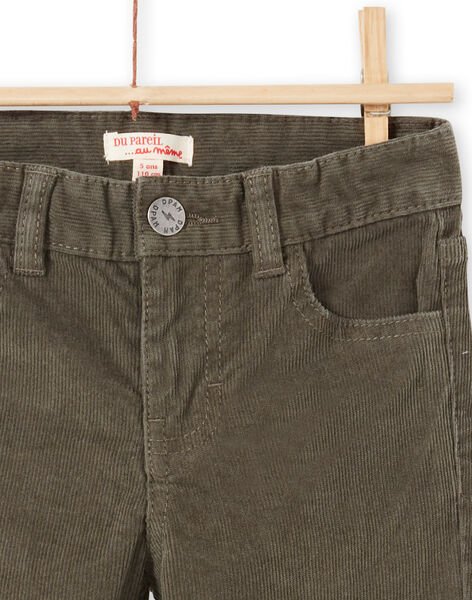 Boy's plain khaki ribbed pants MOJOPAVEL2 / 21W90214PANG631