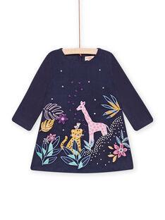 Baby girl navy blue velvet dress with embroidered savannahs MIPLAROB1 / 21WG09O3ROBC202