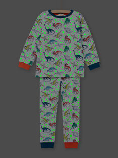 Boy's grey phosphorescent dinosaur print pajama set MEGOPYJAOP / 21WH1282PYJJ922