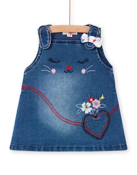 Baby girl blue denim dungarees dress LIHAROB2 / 21SG09X3ROBP270