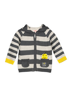 Baby boys' striped zipped hoodie FULIGIL / 19SG1021GIL099