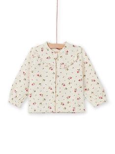 Beige jogging top with floral print baby girl MIKAHOJOG / 21WG09I1JGHA011