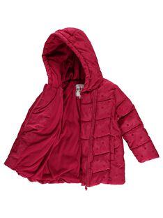 Girls' pink hooded padded jacket DALONDOU1 / 18W901E1D3ED304