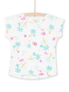 Girl's white and blue t-shirt with palm tree and flower print LAJOTI7 / 21S901F1D31001