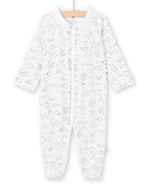 White and grey baby boy sleep suit with marine animals print LOU2GRE2 / 21SF04I1GRE000
