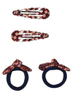 Set of girls' hair clips and hair elastics GYASANCLIC2 / 19WI0176BRT070